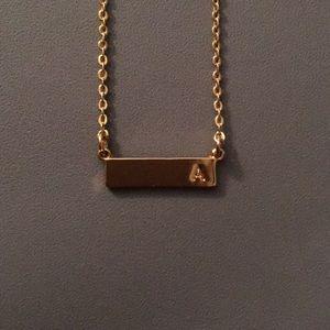 Letter 'A' Bar pendant Necklace